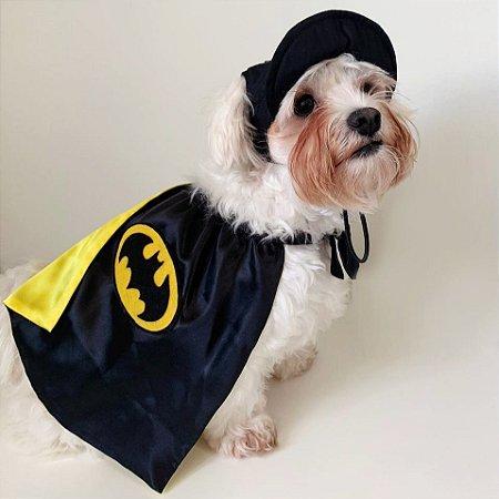 Fantasia para Cachorros e Gatos   Batman com Boné   Carnaval