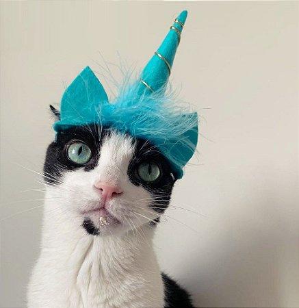 Fantasia para Cachorros e Gatos Tiara Unicórnio Azul