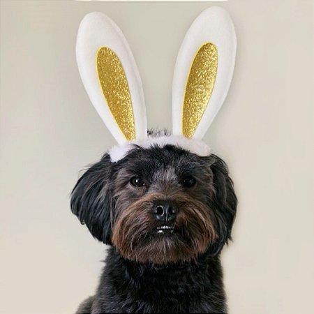 Fantasia de Páscoa Orelhas de Coelho Dourada para Cachorros e Gatos