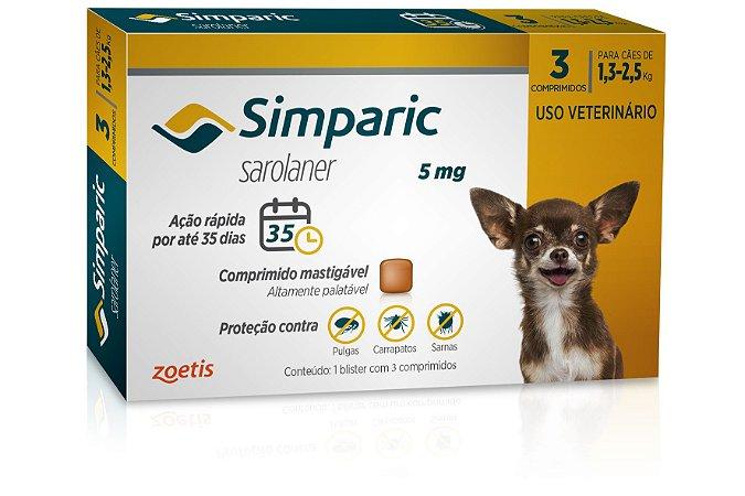 Antipulgas Simparic 5mg Cães de 1,3 a 2,5kg