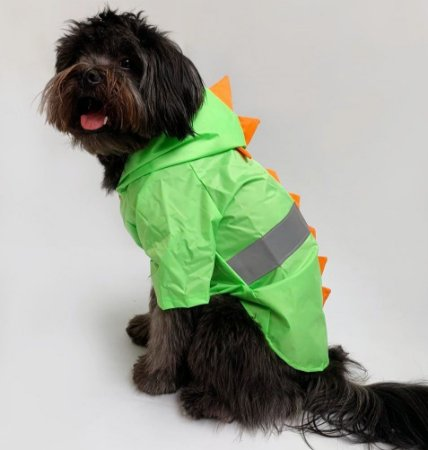Capa de Chuva para Cachorros Dino Verde com Laranja
