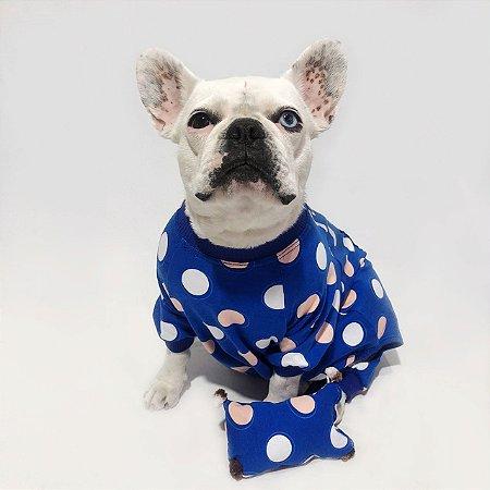 Pijama para Cachorros Azul Royal Bolinhas