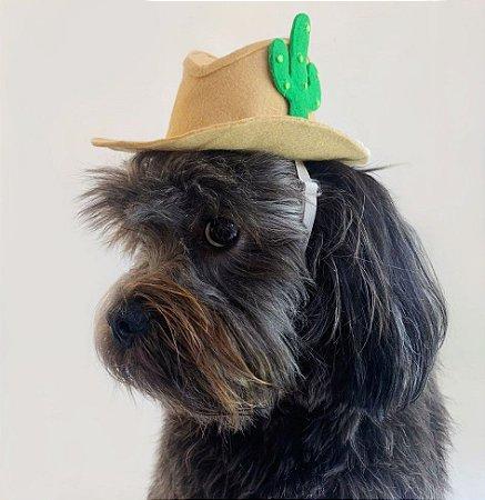 Fantasia para Cachorros e Gatos | Chapéu Cowboy com Cacto