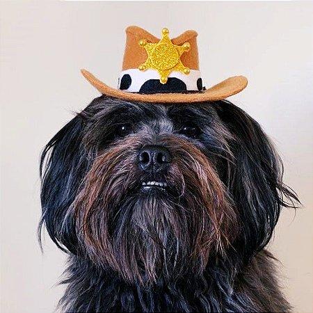 Fantasia para Cachorros e Gatos Chapéu Cowboy Policial