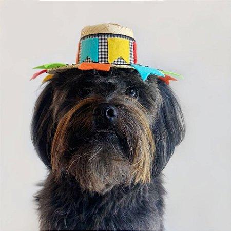 Fantasia para Cachorros e Gatos Chapéu de Palha com Bandeirolas