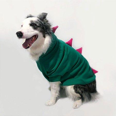 Moletom para Cachorros Dinossauro Verde com Rosa