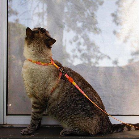 Peitoral com Guia para Gatos New Orange