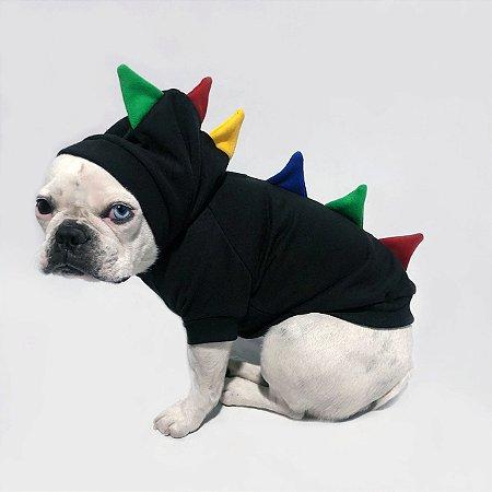Moletom para Cachorros | Dinossauro Preto com Colorido
