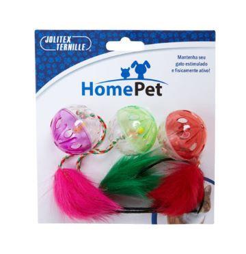 Brinquedo para Gatos Kit Trio Bolas Coloridas
