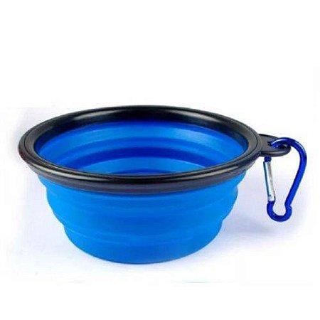 Comedouro Retrátil para Cachorros Azul
