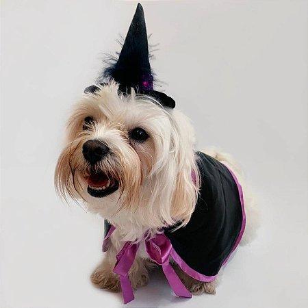 Fantasia para Cachorros e Gatos | Chapéu e Capa de Bruxa | Halloween