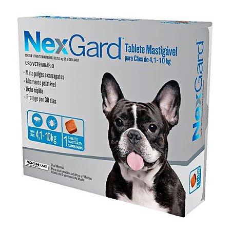 Antipulgas e Carrapatos NexGard Cães de 4,1 a 10kg