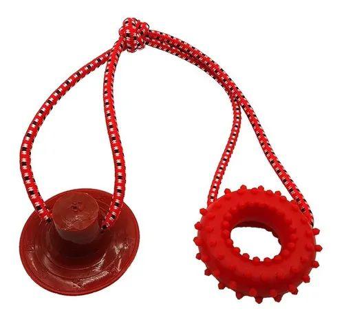 Brinquedo para Cachorros Cabo de Guerra com Ventosa Push Anel Vermelho