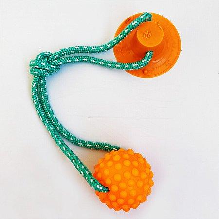 Brinquedo para Cachorros Cabo de Guerra com Ventosa Push Ball Bola Laranja