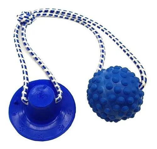 Brinquedo para Cachorros Cabo de Guerra com Ventosa Push Ball Bola Azul
