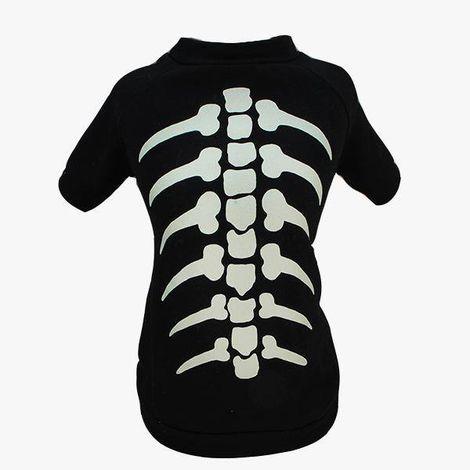 Camiseta para Cachorros Esqueleto Brilhante