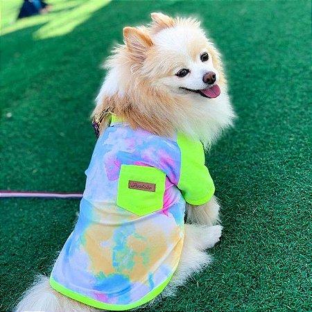 Camiseta Tie Dye Amarela Neon para Cachorros
