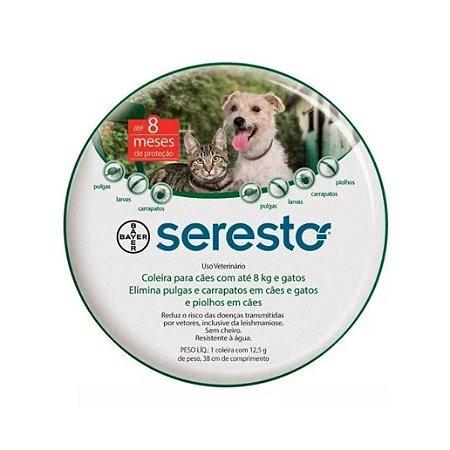 Coleira Antipulgas e Carrapatos Seresto para Cachorros e Gatos até 8kg