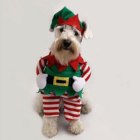 Fantasia de Natal para Cachorros Duende Ajudante do Papai Noel