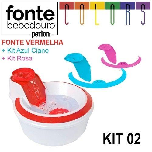 Fonte Bebedouro Petlon Colors para Cachorros e Gatos Kit 2