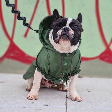 Capa de Chuva para Cachorros Verde Musgo