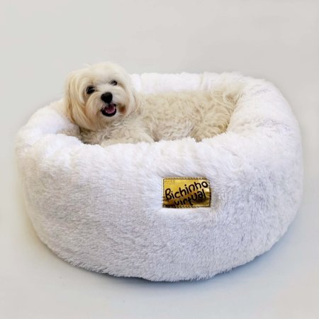 Cama de Pelúcia para Pets Nuvem Super Macia Branca