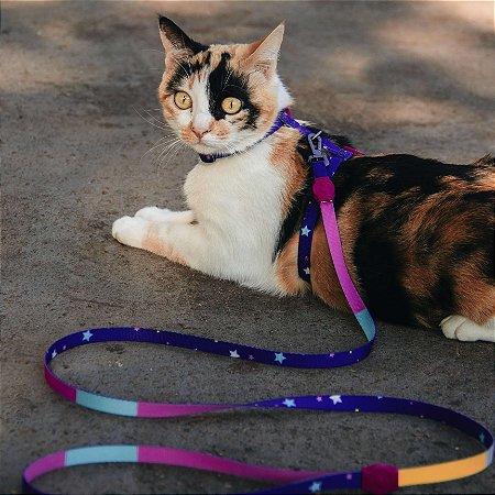 Peitoral com Guia para Gatos Stars Pink