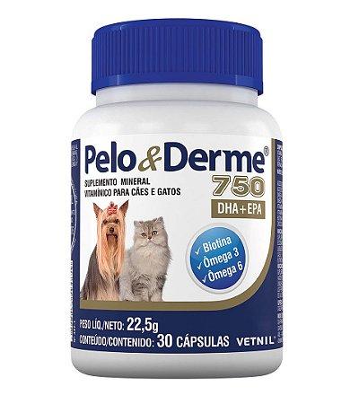 Pelo e Derme 750 DHA + EPA para Cachorros e Gatos