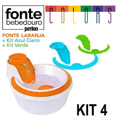 Fonte Bebedouro Petlon Colors para Cachorros e Gatos Kit 4