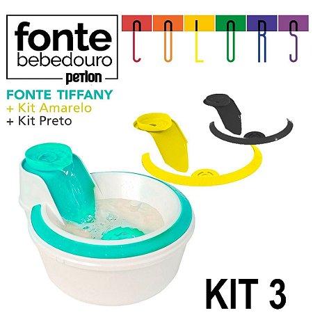 Fonte Bebedouro Petlon Colors para Cachorros e Gatos Kit 3