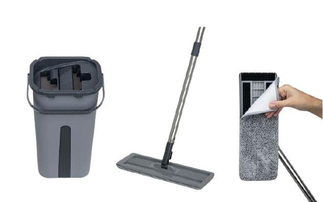 Flat Mop Slim Para Limpeza de Pisos, Vidros e Azulejos - Nobre