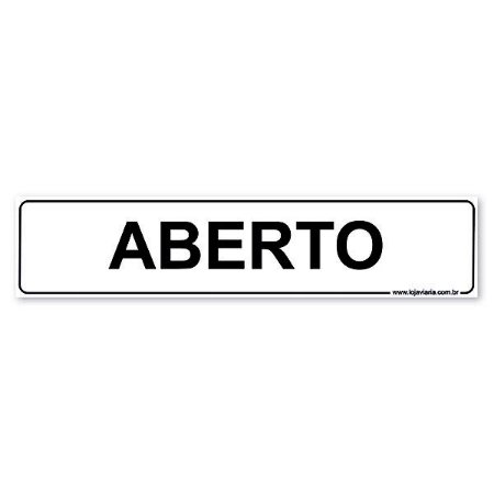 Placa Aberto 30x6,5 cm ACM 3 mm