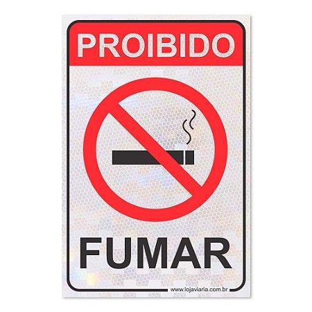 Placa Proibido Fumar - 30 x 20 cm ACM 3 mm