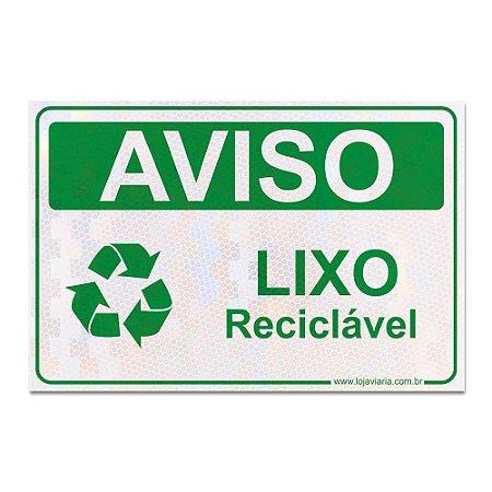 Placa Lixo Reciclável 30 x 20 cm ACM 3 mm