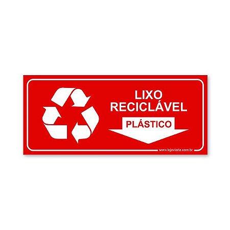 Placa Lixo Reciclável Plástico 30x13 cm ACM 3 mm