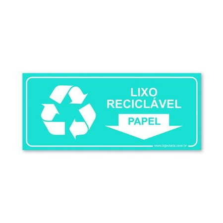 Placa Lixo Reciclável Papel 30x13 cm ACM 3 mm
