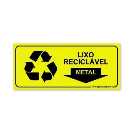 Placa Lixo Reciclável Metal 30x13 cm ACM 3 mm