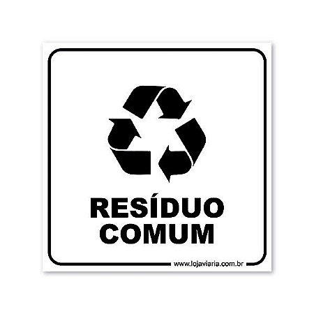 Placa Resíduo Comum 18x18 cm ACM 3 mm