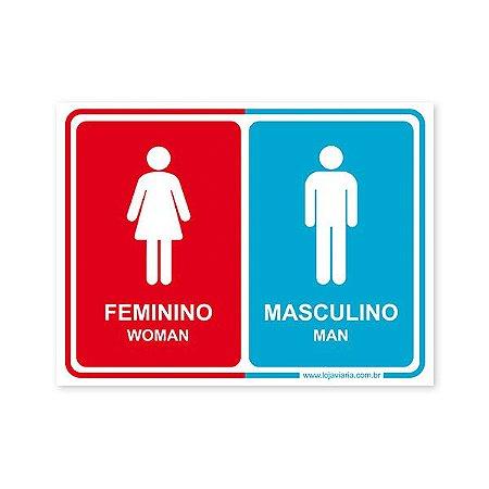 Placa Banheiro Unisex (Feminino, Masculino) 20x15 cm ACM 3 mm