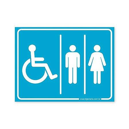 Placa Banheiro de Deficiente Físico Unisex 20x15 cm ACM 3 mm
