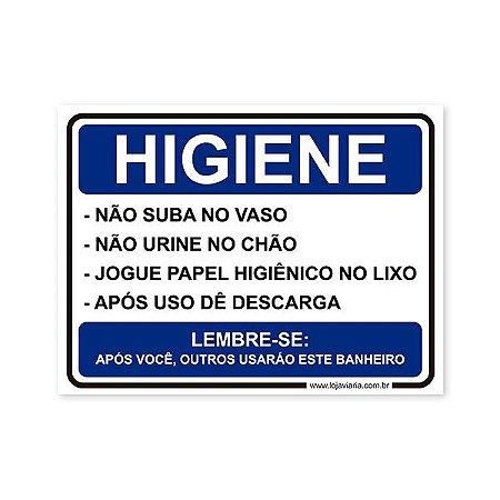 Placa Regras de Higiene 20x15 cm ACM 3 mm