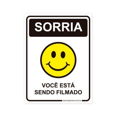 Placa Sorria, Você está Sendo Filmado - 15x20 cm ACM 3 mm