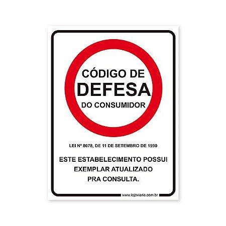 Placa Código de Defesa do Consumidor - 15x20 cm ACM 3 mm