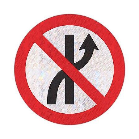 Placa Proibido mudar de faixa ou pista de trânsito da esquerda para direita R-8a