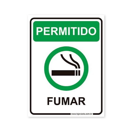 Placa Permitido Fumar 15x20 cm ACM 3 mm
