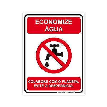 Placa Economize Água 15x20 cm ACM 3 mm