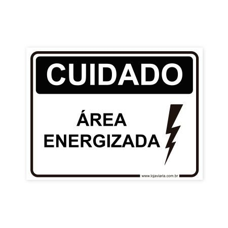 Placa Cuidado, Area Energizada 20x15 cm ACM 3 mm