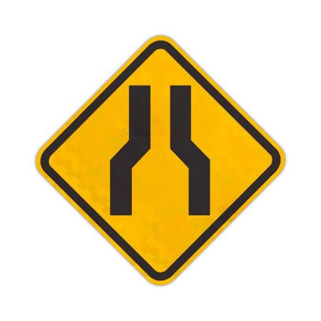Placa Estreitamento de pista ao centro A-21a
