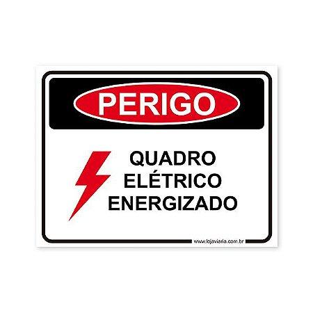 Perigo, Quadro Elétrico Energizado  20x15 cm ACM 3 mm