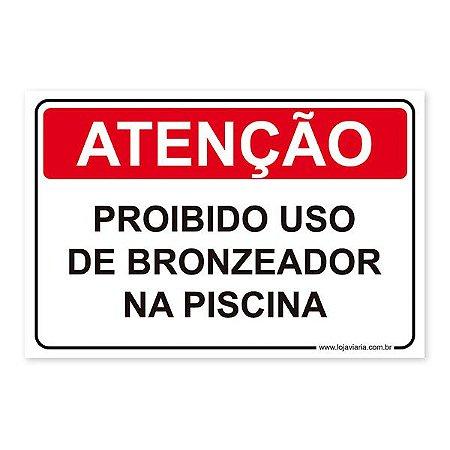 Placa Proibido Uso de Bronzeador na Piscina - 30x20 cm ACM 3 mm
